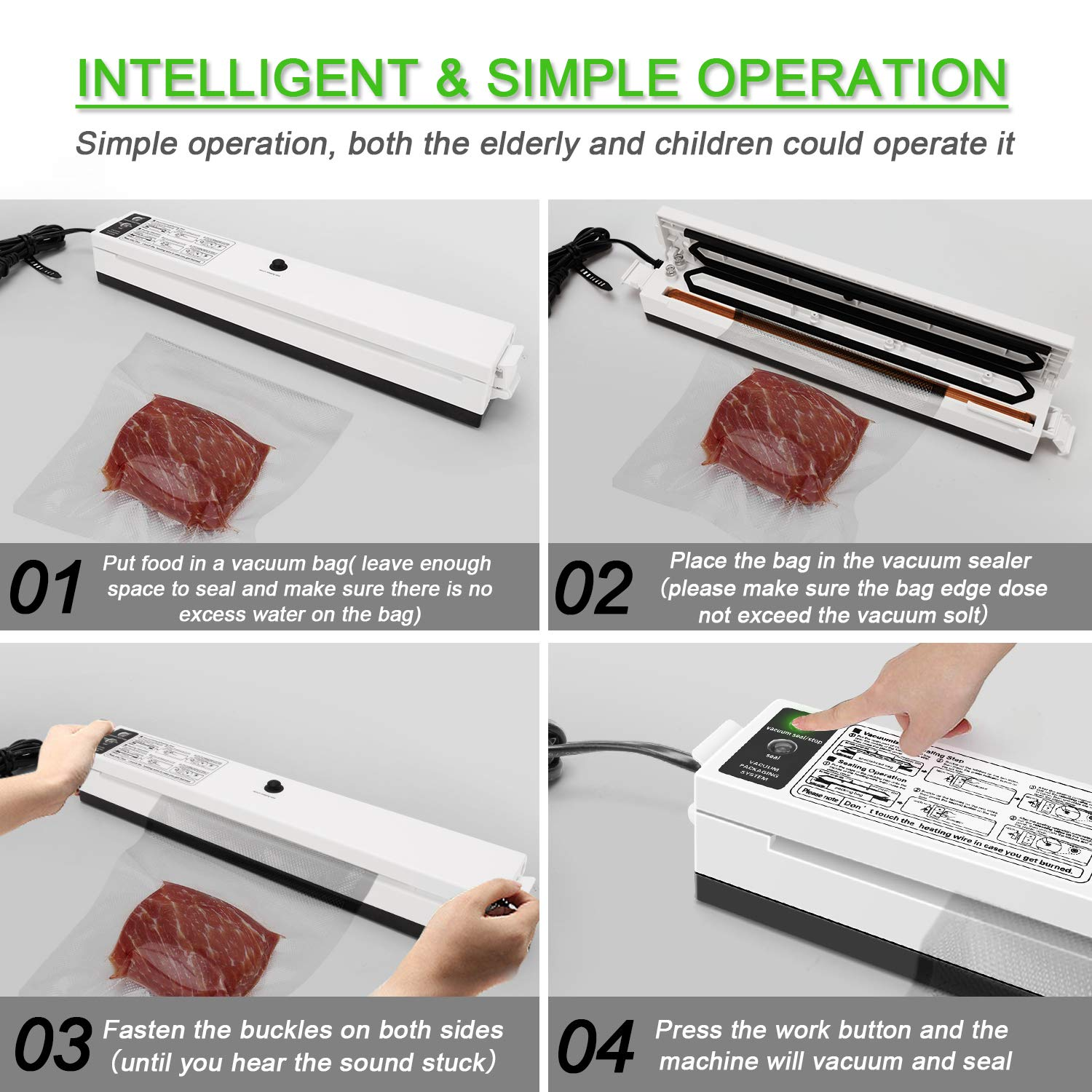 Electric Vacuum Sealer Packaging Machine For Home Kitchen Including 10pcs Food Saver Bags Vacuum Food Sealing 110V/220V