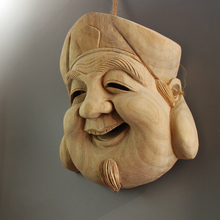 Noh-Mask Japanese Decorative Craft Wall-Hanging Wooden Traditional Female Warrior Ghost