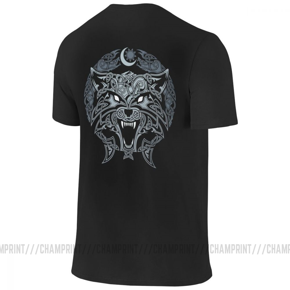 Wolves Of Ragnarok Vikings Valhalla Odin T-Shirt Men Front and Back 100% Cotton Two Sides Tees Short Sleeve T Shirt Printing