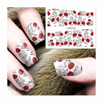 YZWLE 1 Sheet Watermark Nail Stickers Charming Red Flower Pattern Nail Art Water Transfer Sticker Decals Nails Wraps Decor 133