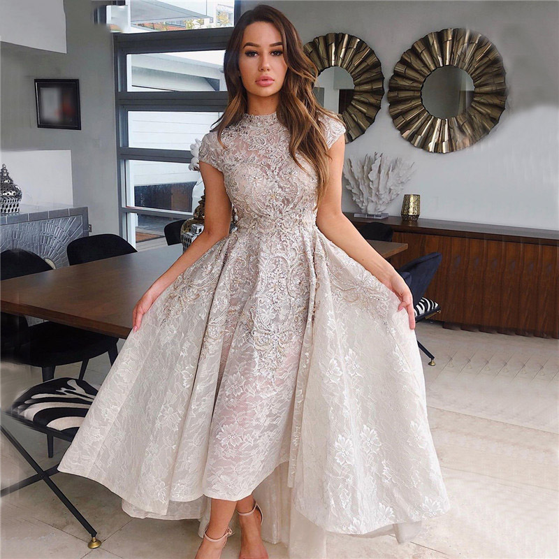Eightree High Neck Luxury Asymmetrical Evening Dresses Short Sleeve Lace Beading Evening Gowns 2021 Sequins Prom Party Gown