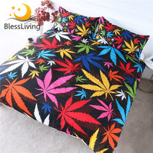 BlessLiving Maple Leaf Bedding Set King 3 Piece Colorful Bedlinen Fall Autumn Tree Leaves Duvet Cover Stunning Black Bed Set(China)