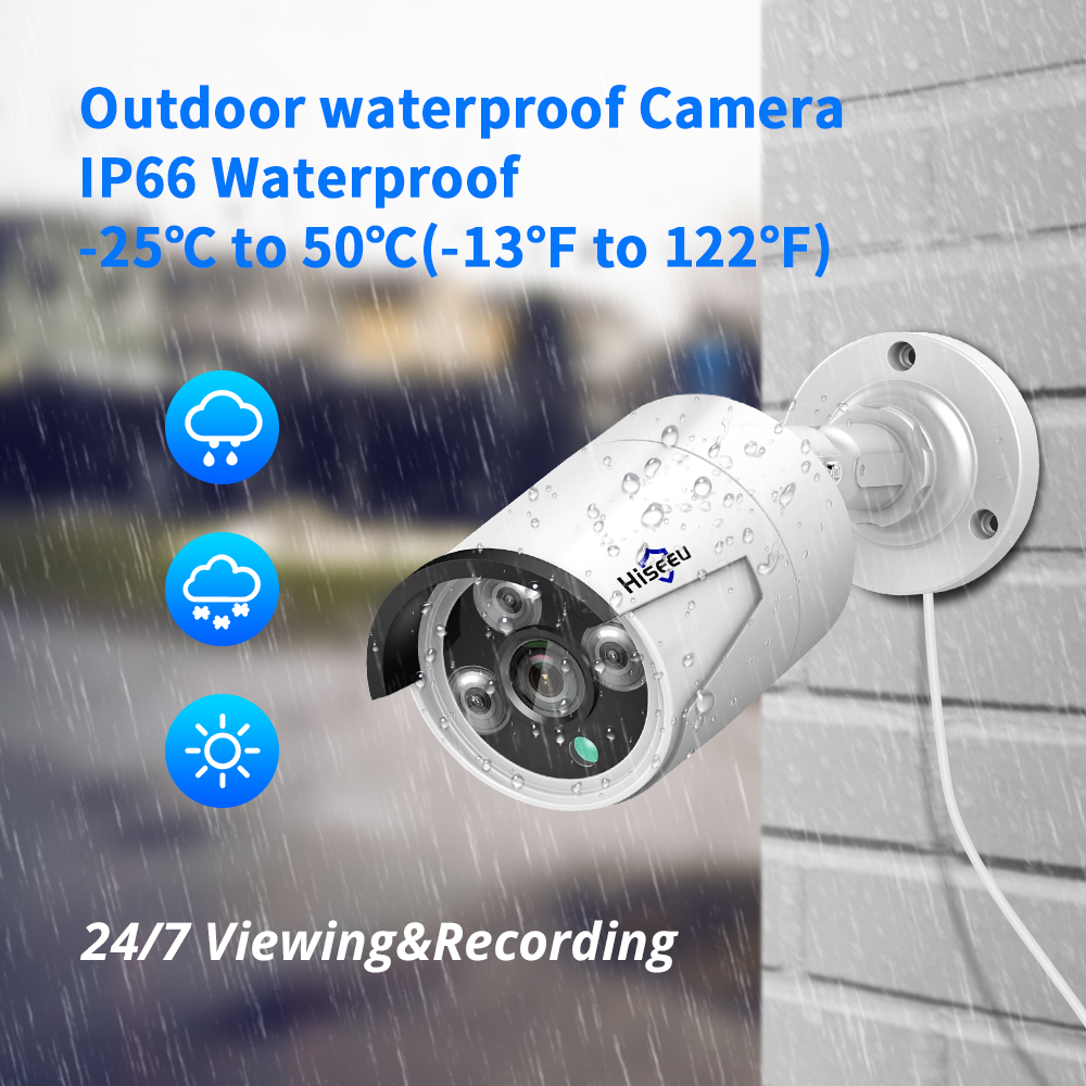 Hiseeu 5MP Audio Security IP Camera POE H.265 ONVIF Outdoor Waterproof IP66 CCTV Camera P2P Video Surveillance Home for POE NVR