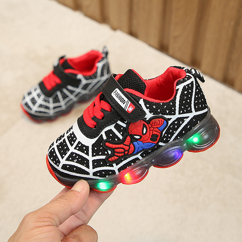 Glowing Sneakers Led-Shoes Light-Up Spiderman Boys Kids Cartoon Mesh