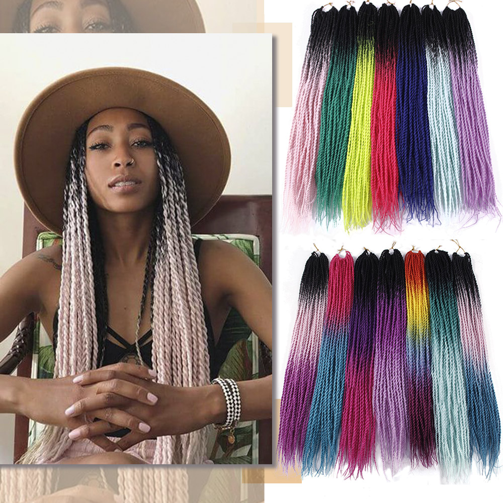 Twist-Hair-Extensions Braiding-Hair Blonde Senegalese Crochet Synthetic-Grey Ombre Colors title=