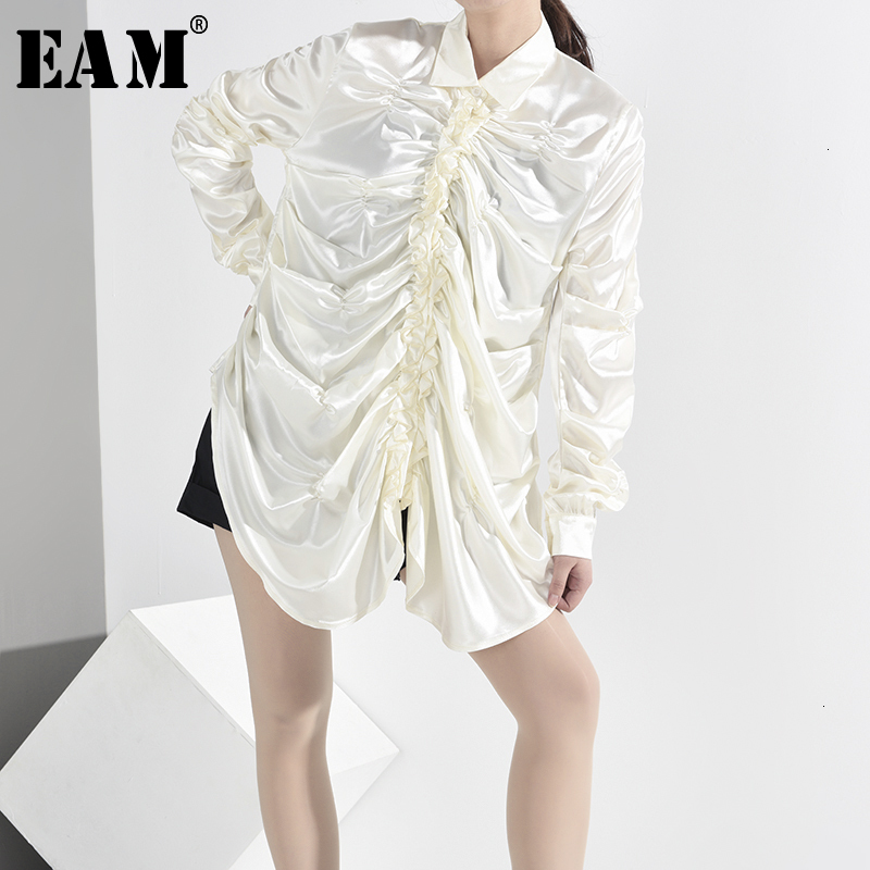 [EAM] Women Asymmetrical Pleated Split Blouse New Lapel Long Sleeve Loose Fit Shirt Fashion Tide Spring Autumn 2019 1A2400