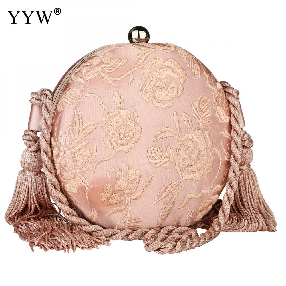 Fashion Pink Round Rope Evening Bags Sweet Tassel Clutches Prom Purse Floral Party Clutch Bag Trendy Wedding Bridal Pouch Purse title=