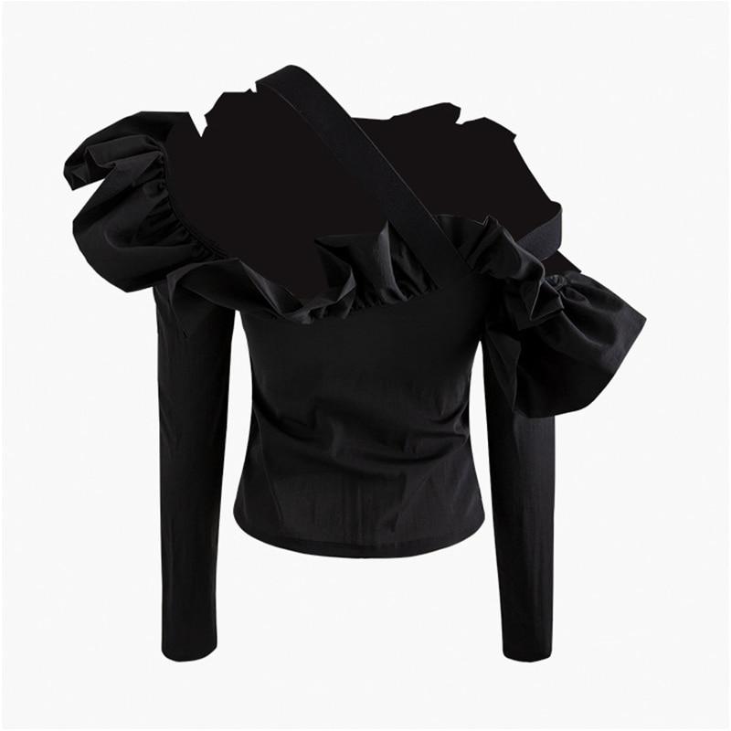 VGH Casual Asymmetrical Women Shirt Slash Neck Long Sleeve Off Shoulder Slim Patchwork Ruffles Irregular Blouse Female Fashion