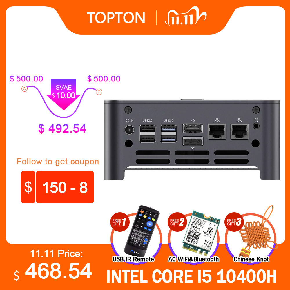 TOPTON Новый NUC Intel i9 10980HK i7 10750H мини компьютер 2 LAN Windows 10 * DDR4 NVMe игровой ПК DP HDMI Type C 4K AC
