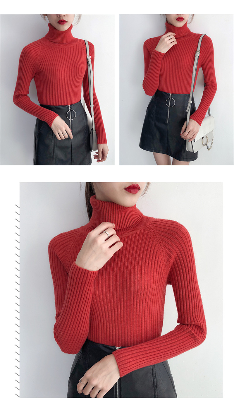 19 Women Sweater casual solid turtleneck female pullover full sleeve warm soft spring autumn winter knitted cotton 17