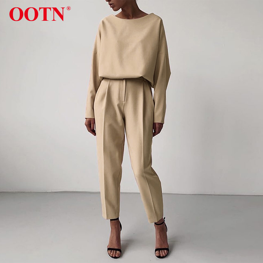 OOTN Casual High Waist Khaki Pants Women Summer Spring Brown Ladies Office Trousers Zipper Pocket Solid Female Pencil Pants 2020