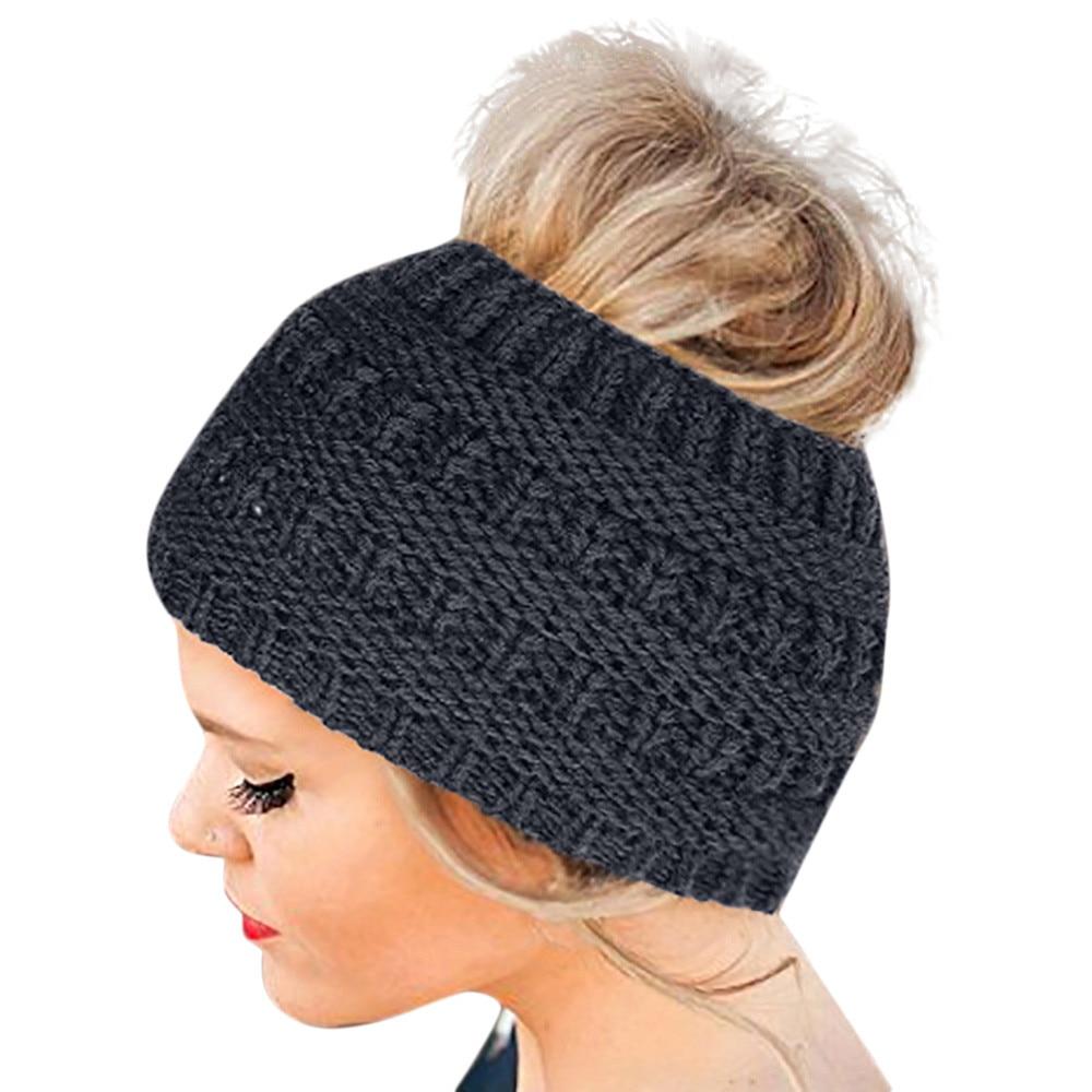 1PC Women Winter Warm Beanie Headband Skiing Knitted Cap Outdoor Ear Warmer Band