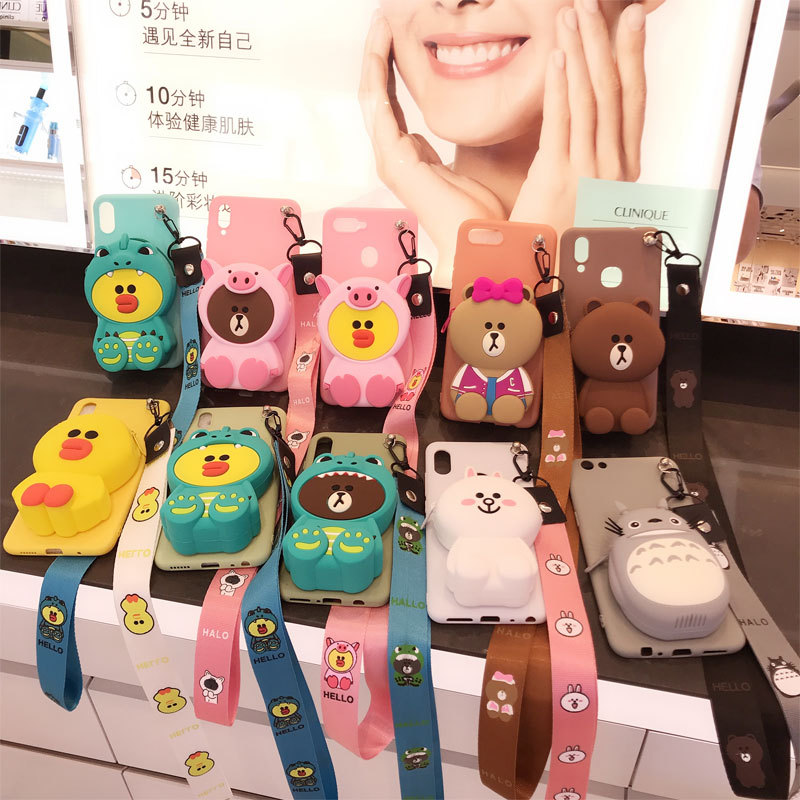 3D sewing bear cartoon zipper wallet  for iphone 11 7 XR XSMA 11Pro 11ProMax silicone phone case