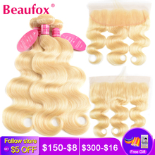 Beaufox Blonde-Bundles Lace-Frontal-Closure Human-Hair Body-Wave Remy 613 Brazilian