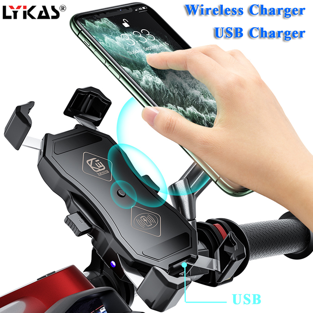 LYKAS Motorcycle Phone Holder Wireless Charger Handlebar Phone Mount USB Charger Fast Charging Waterproof 360 Degree Rotation title=