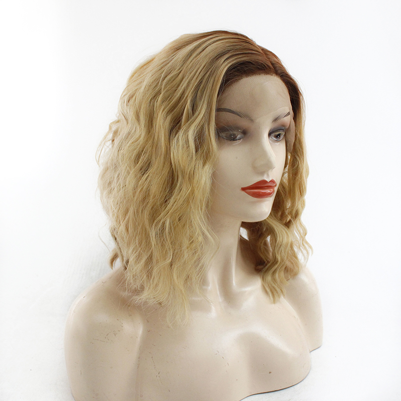 Ombre Blonde Short Bob Lace Front Wigs for Women Dark Roots to Light Blonde Synthetic Wig Fashionable Wavy Wig Heat Resistant