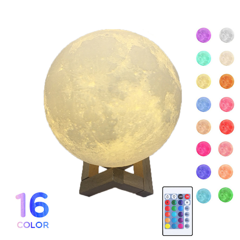 3D Print Moon Lamp USB Rechargeable Touch Switch Moon Light Adjustable LED Night Light For Bedroom Decoration Creative Gift