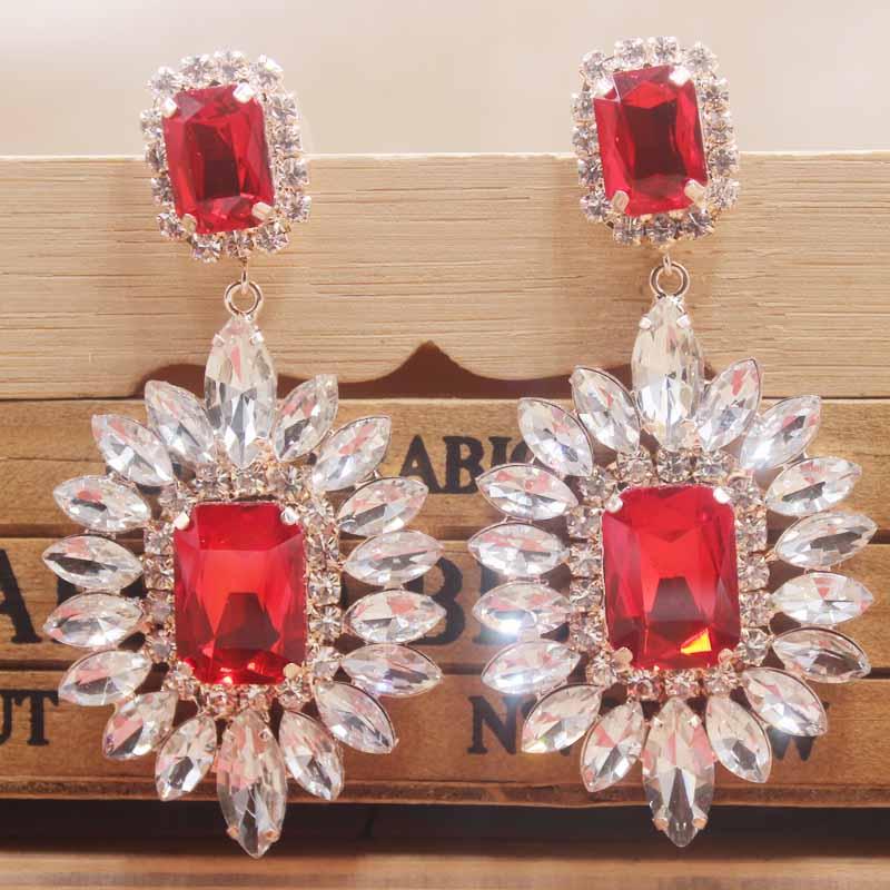 Silver Plated Crystal Earrings Star Moon Drop Dangle Earrings Bridal Jewelry MA