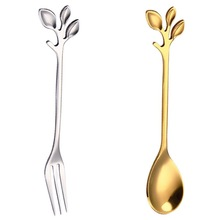 Spoon Dining-Tableware Branch-Leaves Coffee-Stirring Christmas-Gift Stainless-Steel Kitchen