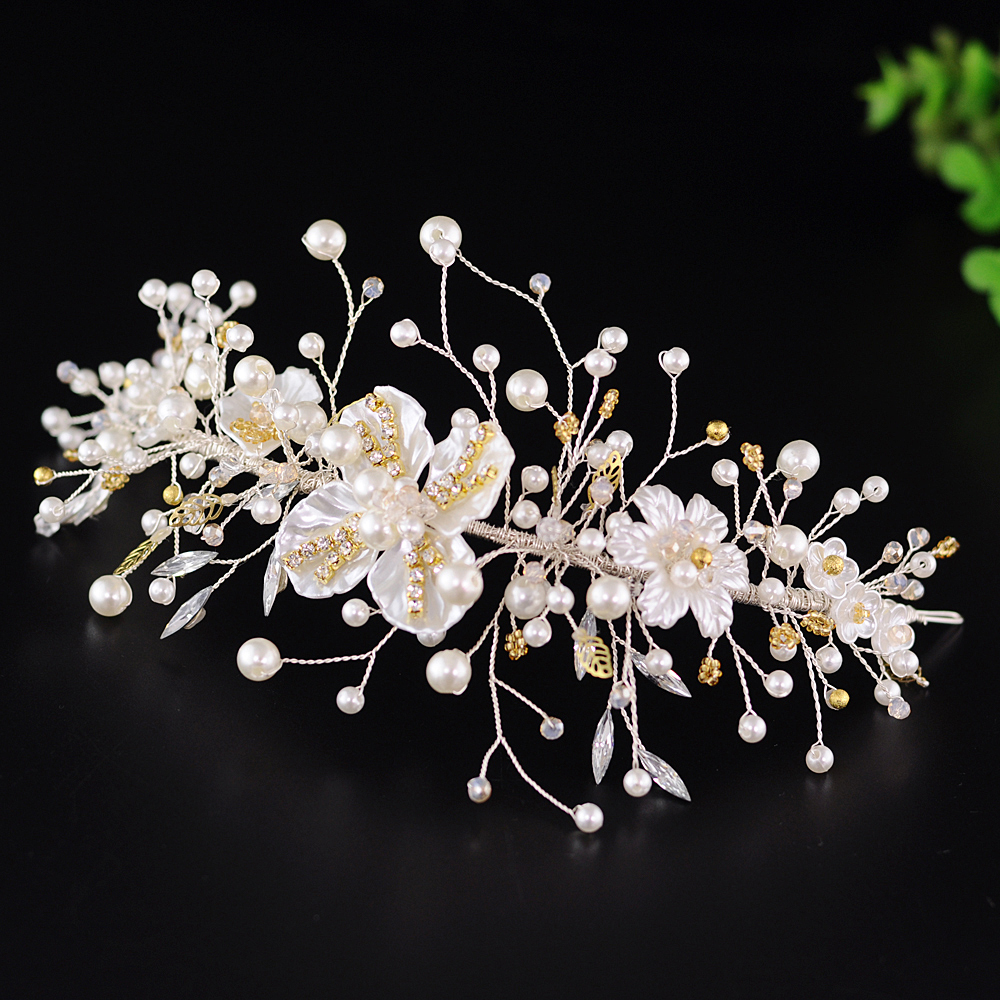 ZMHP219 Bridal Hair Tiara with Shell Flowers Wedding Crown Bride Hair Jewelry Wedding Accessories Bridal Hair Tiara for Women