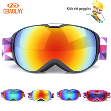 OBAOLAY Kids Double layers Ski Goggles Anti-fog UV400 for Outdoor Sports glasses Children Ski Snow Snowboard Protective Eyewears
