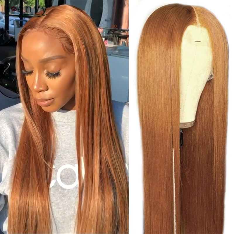 Ginger Blonde Lace Front Wigs Straight Peruvian Middle Part Lace Front Wigs Human Hair For Black Women Blonde Lace Wig 180% Remy