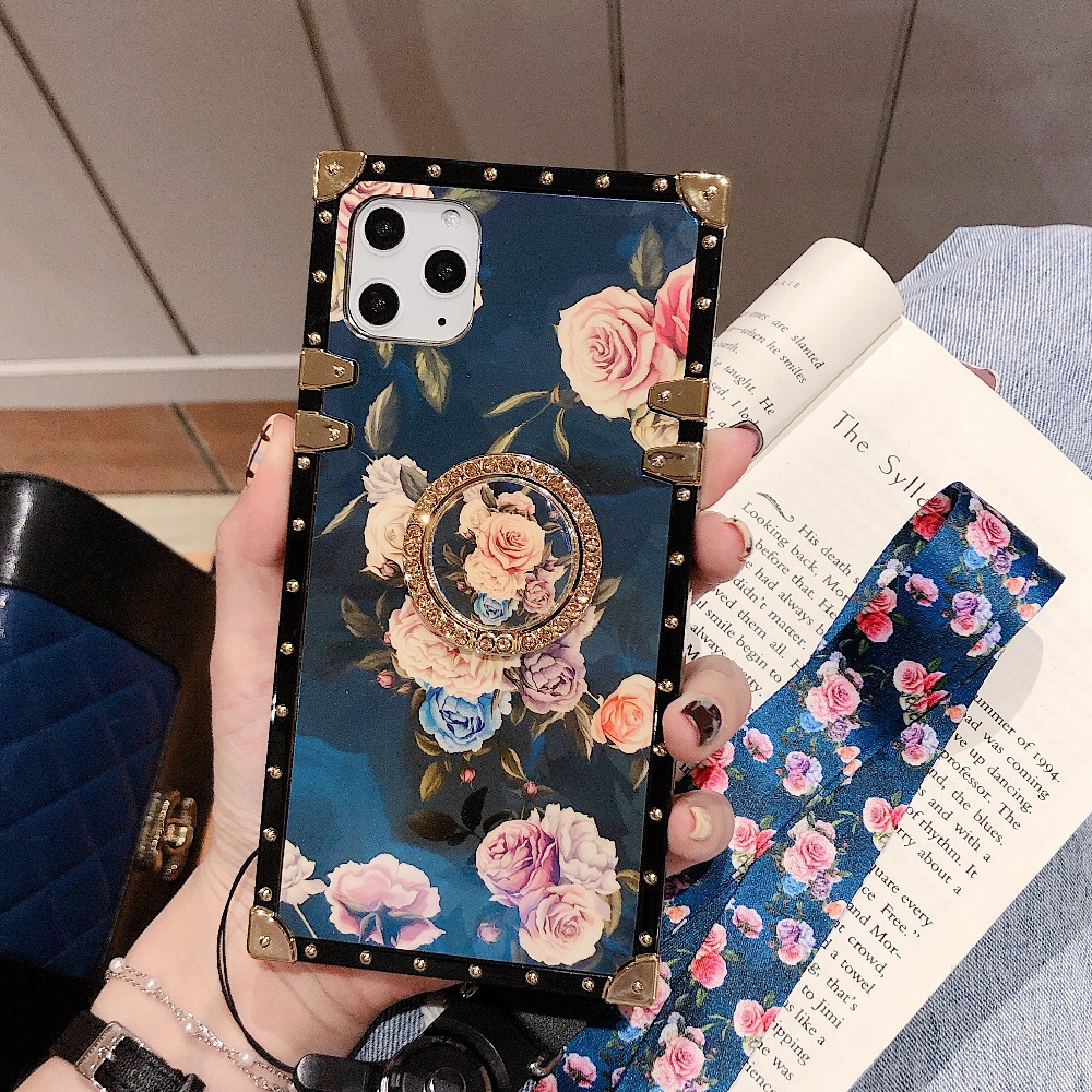 For Samsung Note10 Plus Note9 8 S10 Plus S10e S8 S9 A70 A50 A20 A30 M30 M20 Case Square Diamond Stand Blue Ray Rose Flower Cover (2)