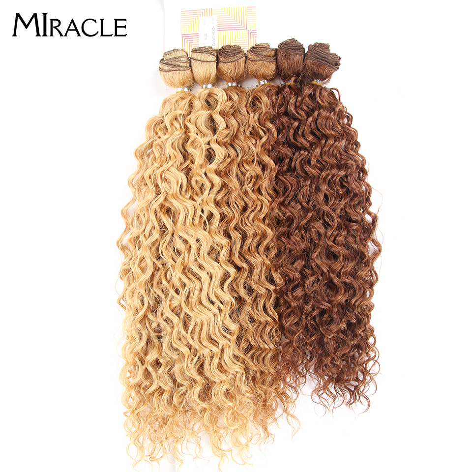 Miracle Hair-Bundles Weaves Synthetic-Hair Kinky Curly Long Women Heat-Resistant 6pcs/Lot title=