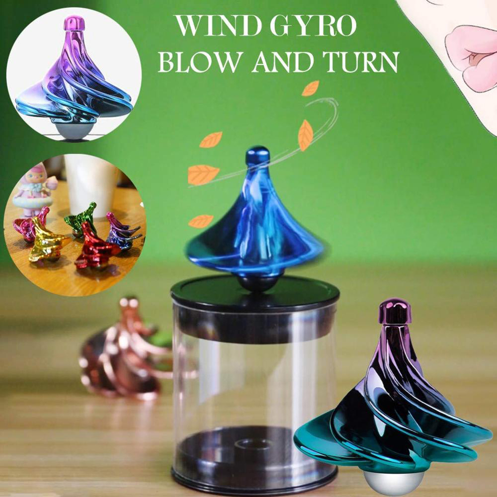 Wind Blow Turn Gyro Stress Relief Toy for Kids and Adults - The Original Tornado Tops Airflow Spinning Top Wind Gyro Aurora 2 Pack Unique Gift Wind Gyro Based Spinning Tops for Kids and Adults