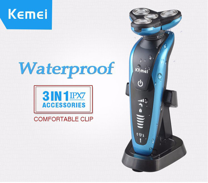 Kemei Electric Shaver Triple Blade 3 in1 professional Rechargeable Electric Shaving Razors Men 3D Floating Home Appliances