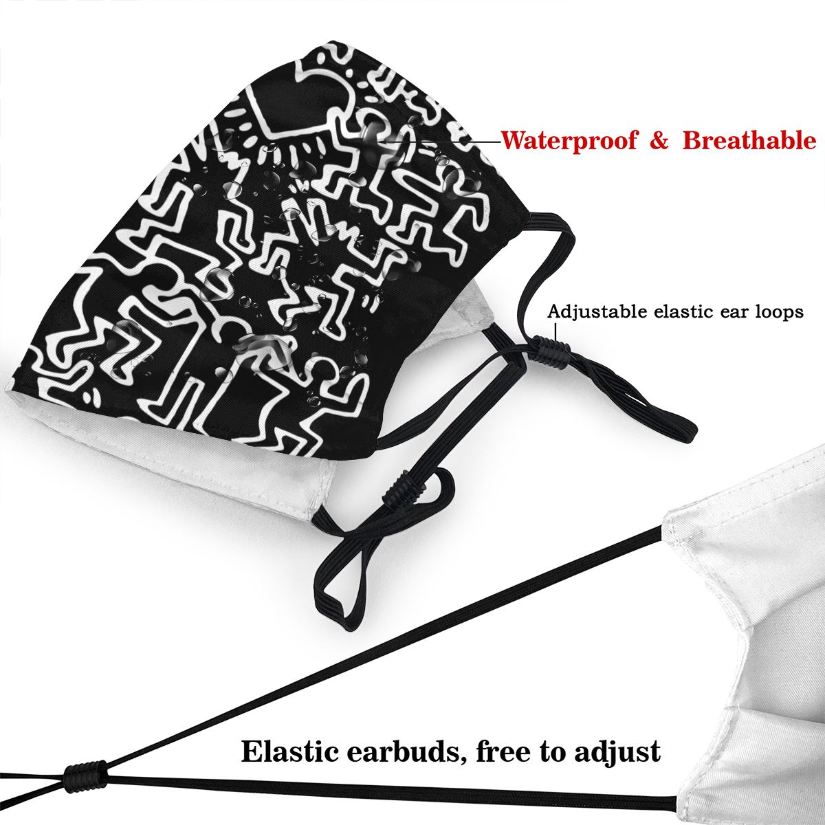 Keith Haring Adult Non-Disposable Mouth Face Mask Anti Haze Dust Protection Cover Respirator