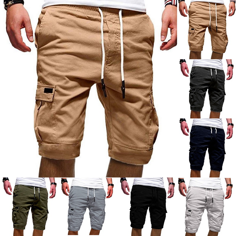 Summer Shorts Drawstring Streetwear Male Men's Multi-Pocket Casual Fashion New Solid title=