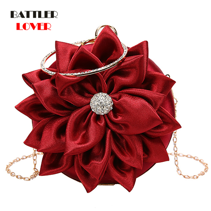 2020 Red Women Bags Luxury Handbag Female Designer Shoulder Bag Casual Shopping Tote PU Leather Hand bags Flowers Feminine Bolsa