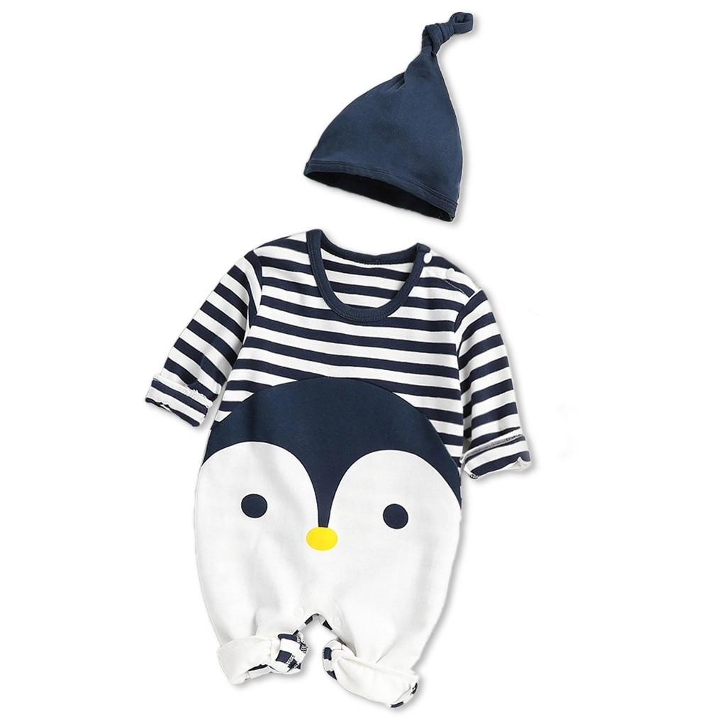 Хлопковый комбинезон PatPat, повседневный комбинезон в полоску с пингвином и длинным рукавом для новорожденных, темно-синий комбинезон на гусеничном ходу, весна-осень 2020