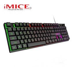 Проводная игровая клавиатура Имитация механическая чувство клавиатура с подсветкой USB 104 Keycaps русская клавиатура водонепроницаемые компью...