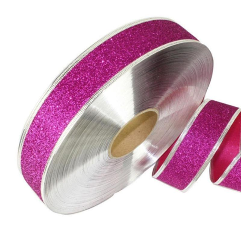 2m Colorful Sparkle Glitter Flannel Christmas Gift Ribbon Clips Bow Decoration