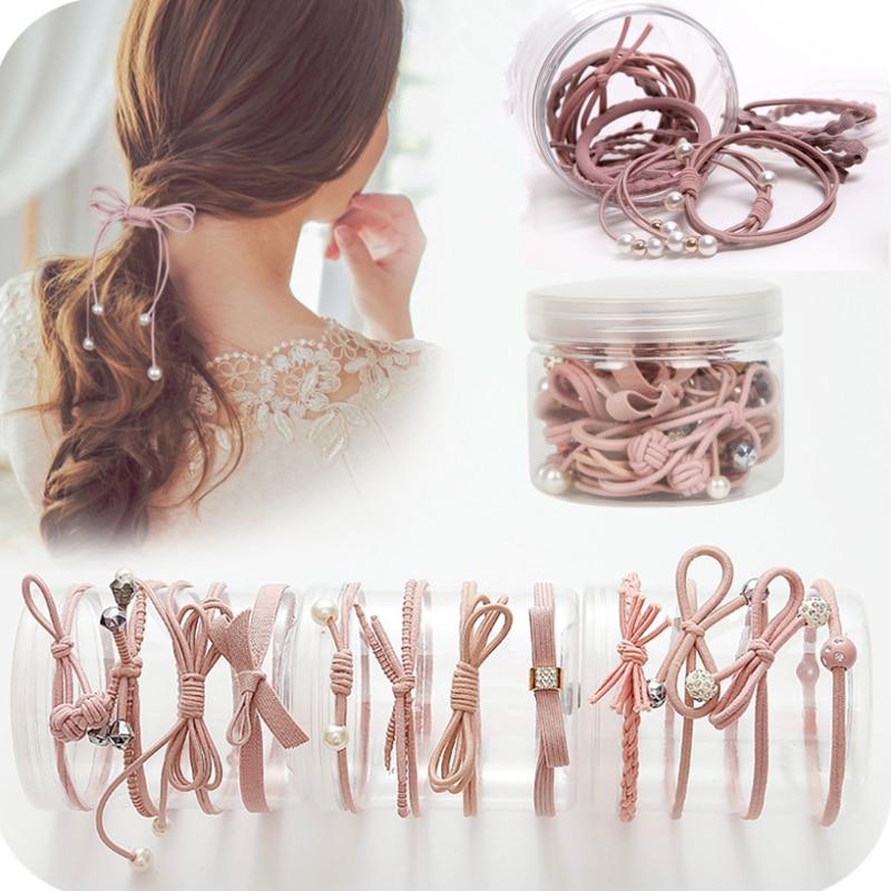Hot 5Pcs Women Girls Cute Bowknot Ponytail Holder Head Rope Ties Hair Bands Gift