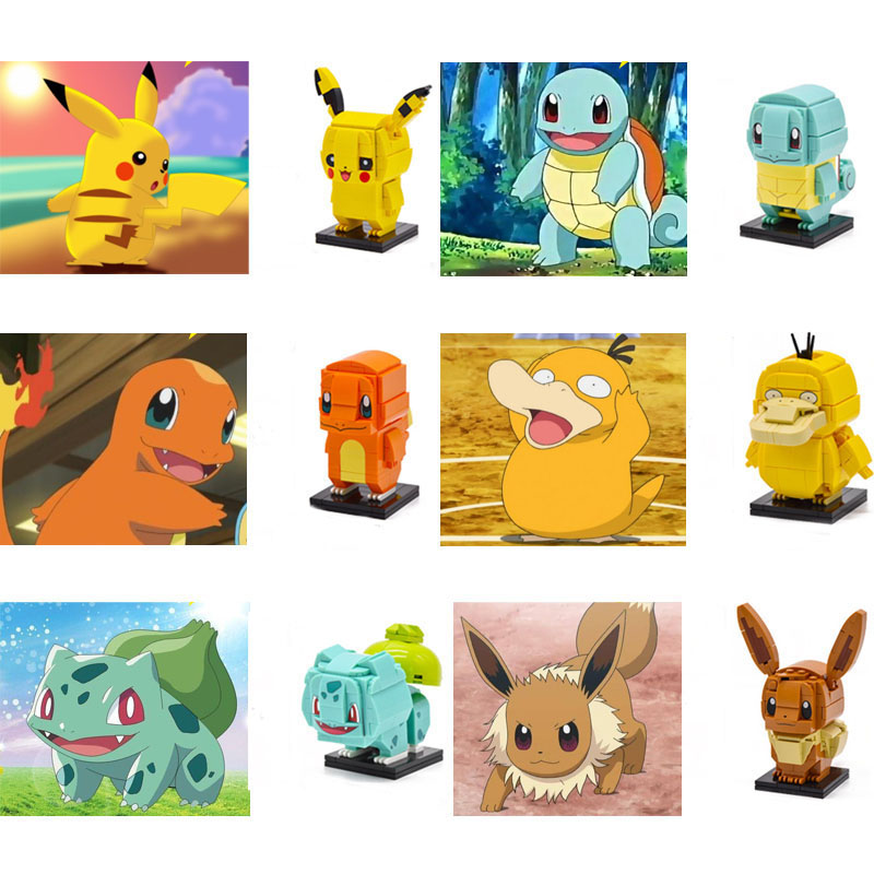 Legoing Creator Elves Movie 2 Action Figures Series Assembly Master Pet Elf Pikachu Squirtle Six Models Building Blocks Kid Toys