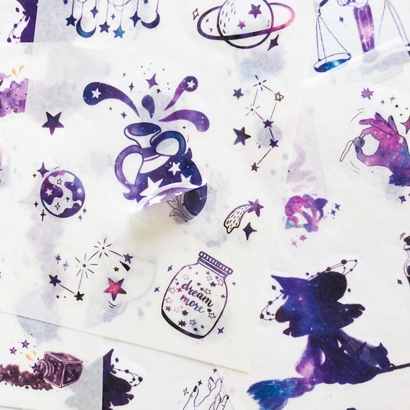 6 Sheets /Pack Purple Resplendent Like Stars Washi Paper Sticker Notebook Computer Phone Decoration