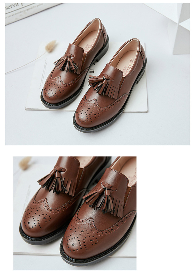 New British Carved Oxford Shoes For Woman Korean College Slip On Student Flats Brogues Shoes Retro Tassel Casual Women's Loafers (12)