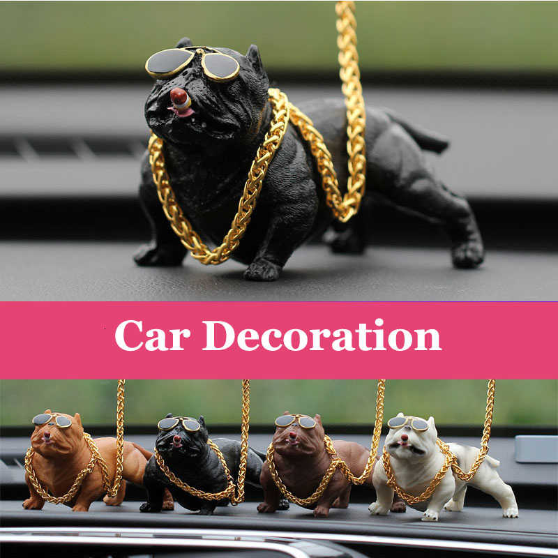 Car Decoration Simulation Bully Dog Doll Decor Auto Interior Accessories Ornaments Cute Chritmas Gift Home Room