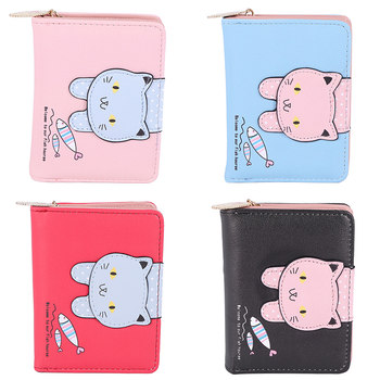 Fashion Women Cute Cat Wallet Small Zipper Girl Designed Pu Leather Coin Purse Female Card Holder Wallet