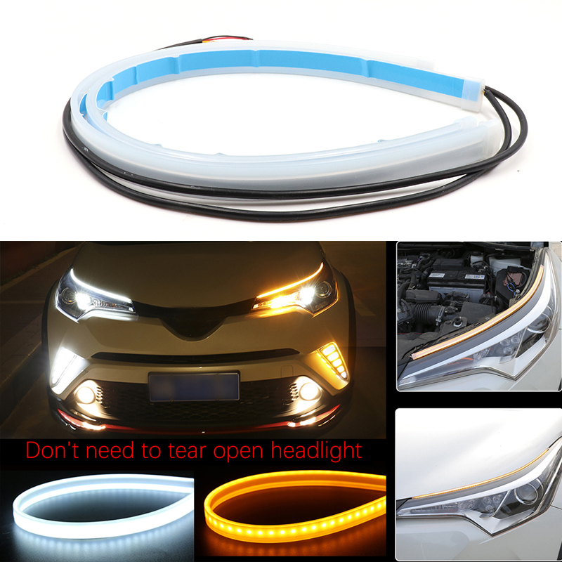TABEN 2/ x Double Couleur Blanc//Ambre Switchback Phare Tube LED Strip lumi/ère Flexible Lumi/ère DRL /& Turn Signal Lampe pour Audi-Style Phare 60/ cm