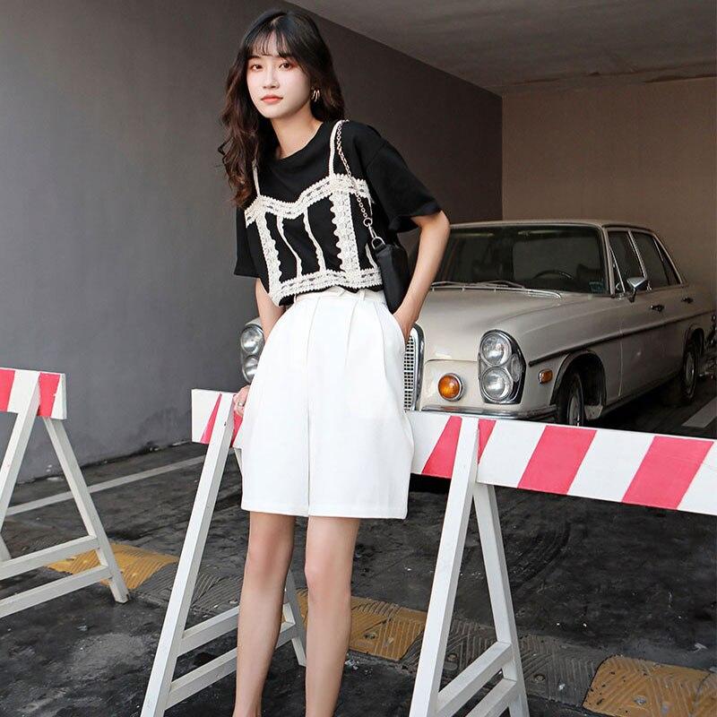 H85d3c20d5a1244a2b23fb3dd29493247a - Summer Korean High Waist Loose White Shorts