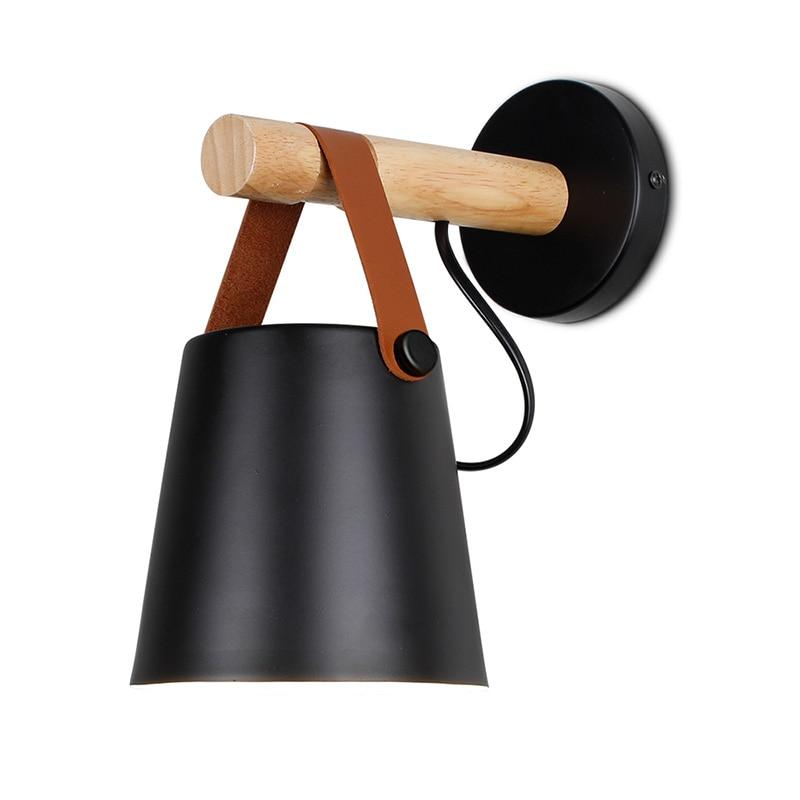 Светодиодный настенный светильник, деревянный настенный светильник, прикроватный светильник, ночник, современный скандинавский абажур, домашний декор, белый и черный пояс, E27 85-265 в