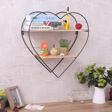 Shelf Wall-Partition Wooden Wrought Iron Creative Board Peach Retro