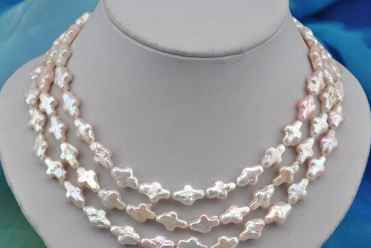 """Jew2482 50""""14mm white pink Cross freshwater pearl necklace AAA"""