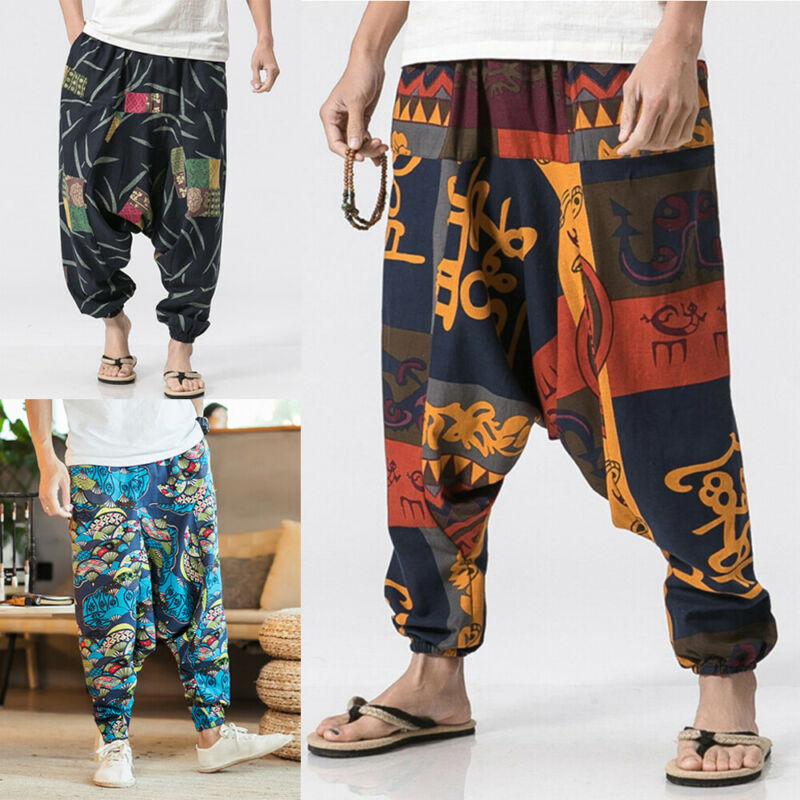 Cotton Pants Trousers Bloomers Boho Printed Hippy Baggy Large-Size Casual Fashion Women title=