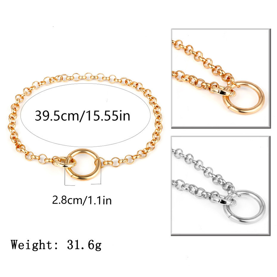 IngeSight-Z-Fashion-Gold-Color-Double-Round-Circle-Lasso-Choker-Necklace-Collar-Statement-Necklace-Clavicle-for