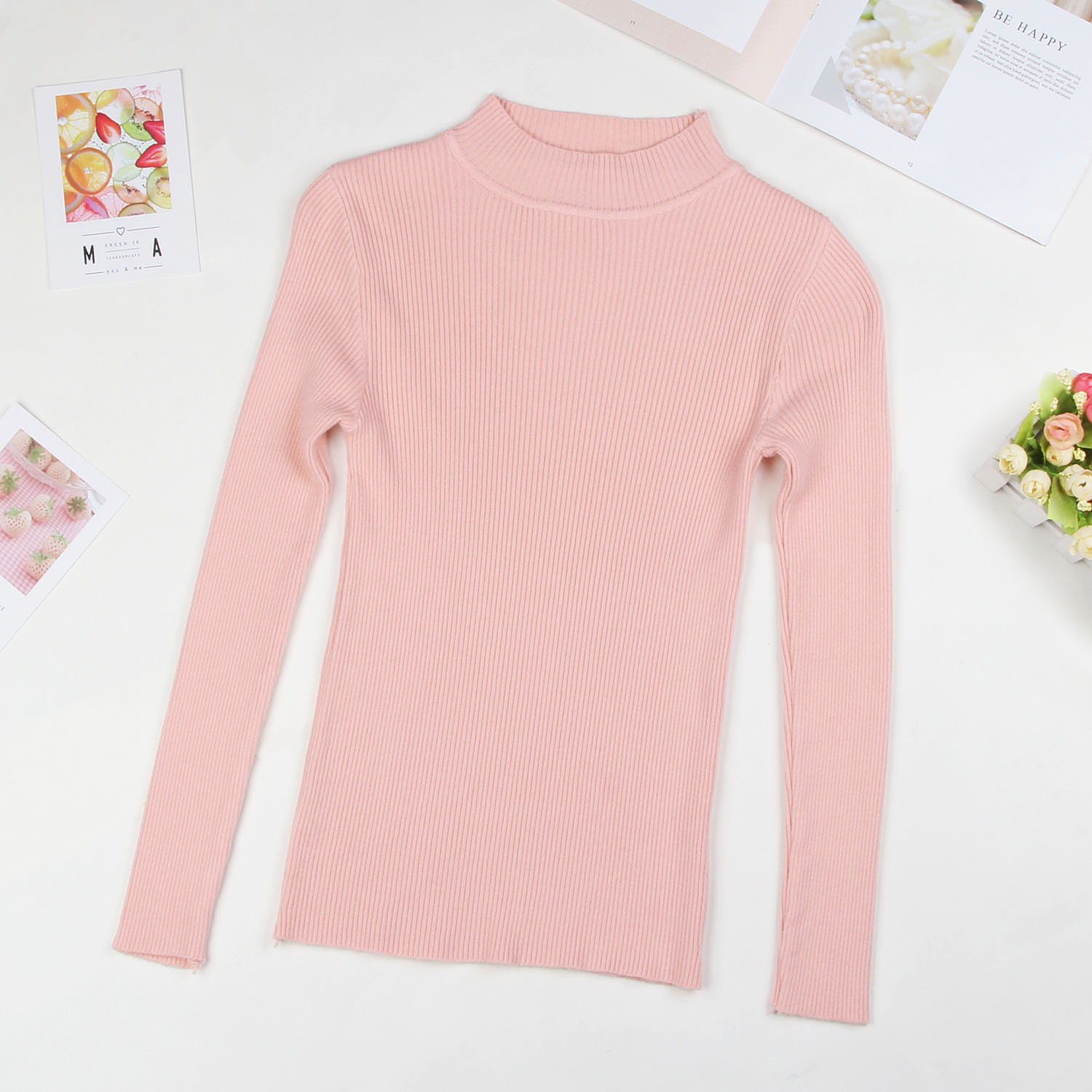 DeRuiLaDy 19 Fall New Women Turtleneck Sweater Pullover Black Pink Knitted Slim Sweaters Tops Winter Casual Sweater Jumper Top 15